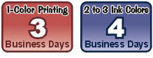 1 color printing usually takes 3 days. 2 to 3 color printing usually takes 4 days.