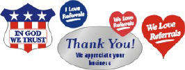 In God We Trust seals, I Love Referrals hearts & Thank You! We appreciate your business pre-printed stickers